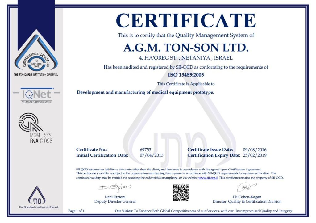 Tonson labs certified ISO13485